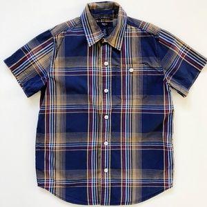 Gap Kids Blue Plaid Short Sleeve Button Down Shirt